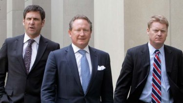 Andrew Forrest (centre), Mike Young (left) and Dave Flanagan at Parliament yesterday.
