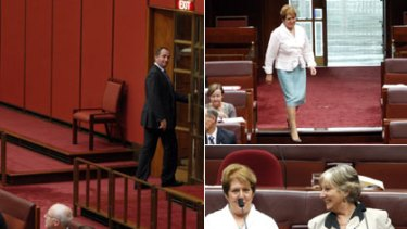 Barnaby Joyce leaves the Senate chamber after the ETS vote, left, and Liberal Judith Troeth, top right, crosses the floor to vote with Sue Boyce, bottom right, in support of the bill.