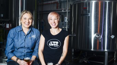 Danielle Allen, left and Jayne Lewis from Two Birds Brewing.