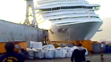 More trouble ... The Costa Concordia was reportedly  filmed hitting a port in 2008.