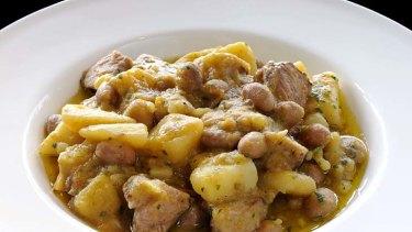 Potato, bean and lamb stew.