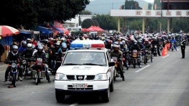 The huge amount of people travelling home by motorcycle has prompted police escorts.