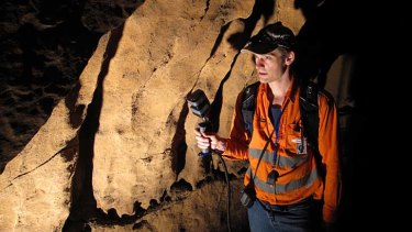 All in good time: Mike Bosse whizzes through the caves with the Zebedee technology.