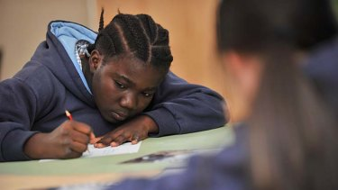 Yamah Karmah, a student at St Joseph's Primary School in Collingwood, prepares for today's NAPLAN test.