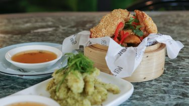 Sesame prawn toast and salt and pepper squid.