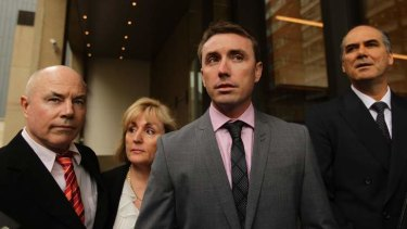 James Ashby, flanked by his parents Darryll Ashby (left) and Colleen Ashby and his lawyer Michael Harmer, arrives at the NSW Supreme court for his appeal.