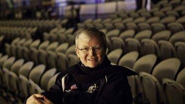 Kevin Rudd takes a stadium seat.