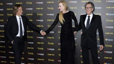 Keith Urban with his wife Nicole Kidman and Geoffrey Rush at the 2015 G'Day USA Los Angeles Gala.