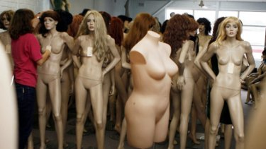 A size-14 dummy cuts a lonely figure among the size-10s at Wendy Atkins' mannequin store in Sydney.