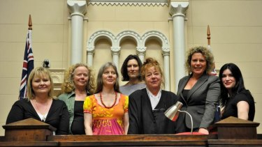 Vikki Petraitis, Carolyn Morwood, Lucy Sussex, Yvette Erskine, Kerry Greenwood, Rochelle Jackson and Leigh Redhead at the old Melbourne Magistrates Court.