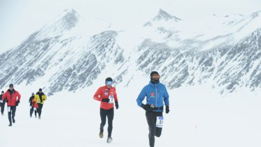 Tristan Miller competes in Antarctica in his 51st marathon of 52 in a year in 2010.
