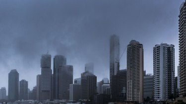 Rain falls on the Brisbane central business district.