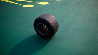 Lost wheel ended his race: the tyre from Mark Webber's car.