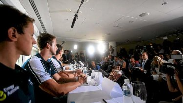 Hostile environment ... Australian men's 4x100m freestyle relay squad face the media in Sydney.