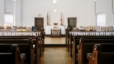 The courtroom in the Monroe County Courthouse, which served as an inspiration for Harper Lee's novel <i>To Kill a Mockingbird</i>.