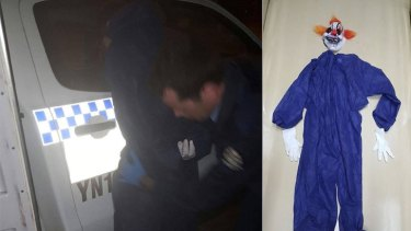 Police photos of the arrest of a man dressed as a clown in Perth and his disguise.