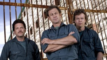 The wrongly convicted Mickelberg brothers (from left). Brian (Josh Quong Tart), Ray (Grant Bowler) and Peter (Todd Lasance).