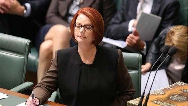 Warrior: Julia Gillard during question time on Wednesday.