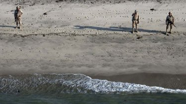 Members of the Mexican Navy keep looking for US tourists in San Felipe, Baja California Sur.