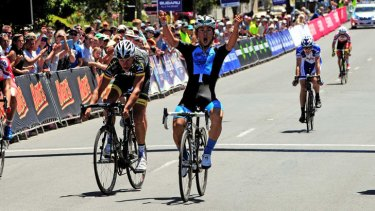 Full cycle: Caleb Ewan wins the under-23 men's road race national title.