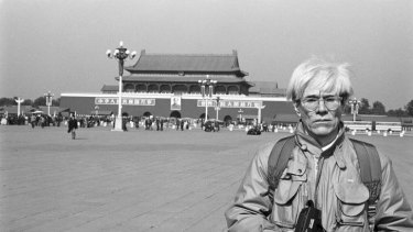 Andy Warhol in Tiananmen Square during a visit to China in 1982.