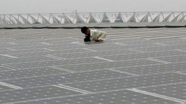 Solar panels being added to India's Jawaharlal Nehru Stadium.