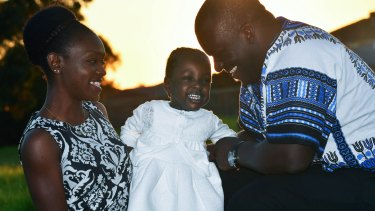 Two-year-old Shifra with her parents Michelle and Neville Matar.