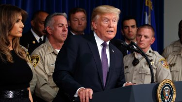 President Donald Trump speaks after meeting with first responders and private citizens that helped during the mass shooting at the Las Vegas Metropolitan Police Department.