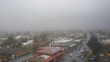 Dark skies appeared over Adelaide as the storm hit last week.