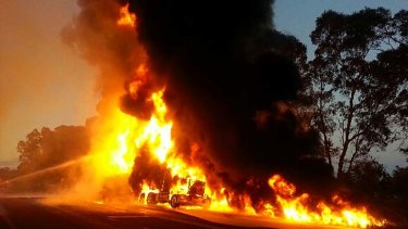 Tanker bursts into flames near Nagambie.