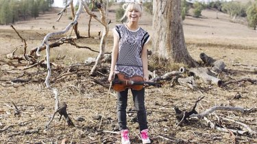 On the dry: Ashleigh Dallas on her home ground at Kootingal, near Tamworth.