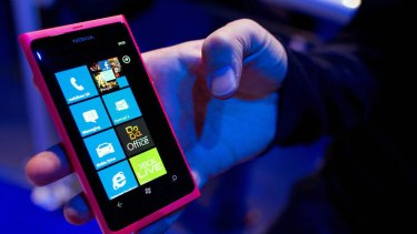 A Nokia Lumia 800 smartphone is displayed at the Nokia World launch event in London.