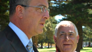 Tony Vallelonga (right), who is accused of being a Mafia gangster, faces the media with his lawyer John Hammond.