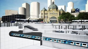 An artist's impression of Melbourne Metro's proposed CBD South station