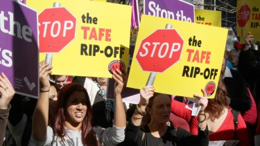 TAFE staff protest the proposed cuts to the sector in the state budget.