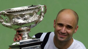 Australian love affair ... Andre Agassi celebrates after winning the Australian Open title against Rainer Schuettler in January 2003.