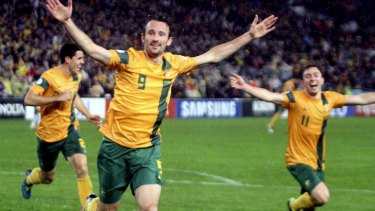 Supersub: Josh Kennedy scored the goal that sent Australia to Brazil minutes after being brought on by coach Holger Osieck.