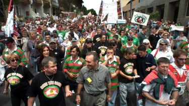 People power: More than 50,000 people marched from the South Sydney Rugby League Club to the Town Hall to protest their exclusion from the NRL competition in 2000.