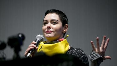 Actress Rose McGowan speaks during a workshop at the Women's Convention in Detroit, Michigan.