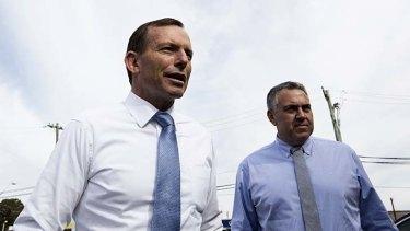 Promising a surplus in 10 years ... Tony Abbott and Joe Hockey.