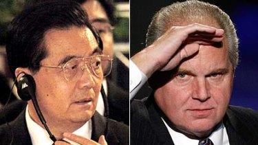 Mocked ... Chinese President Hu Jintao ridiculed by Rush Limbaugh.