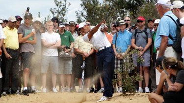 Popular ... fans watch Tiger Woods chip out of the sand.