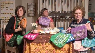 Biddie Bags founder Samantha Jockel (middle), with her nanna Ivy Turner and  business patron Sarah Blasko.