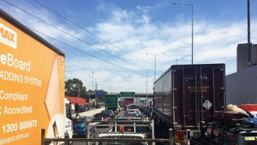 Major traffic jam on the West Gate Bridge.