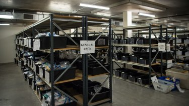 Inside the Border Force warehouse.