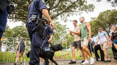 Police and sniffer dogs  were a strong presence during the 2016 Harbourlife music festival in Sydney.