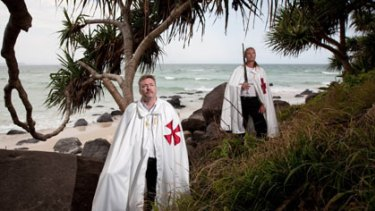 'We're not just whirling dervishes with swords and capes.'' ... Knights Templar Paul Grice and Anthony Auguste Rousseau at Coolangatta.