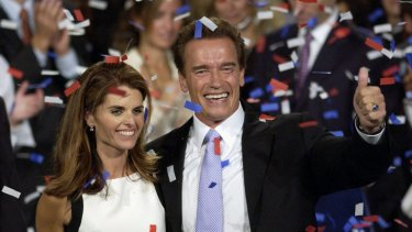 Arnold Schwarzenegger and Maria Shriver celebrate his win in the California gubernatorial election.