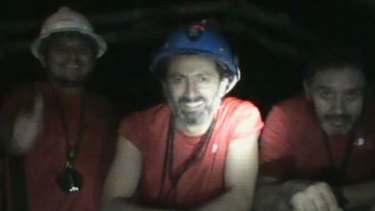 A frame grab shows some of the 33 miners trapped underground in a copper and gold mine at Copiapo, about 725 km  north of Santiago.