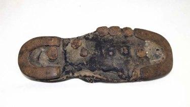 A convict era shoe found in Brisbane's Commissariat building in 1913.